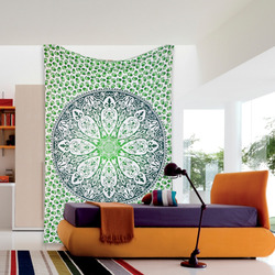 Green Parrot Floral flower printed bohomian wall hanging home decor art yoga mat hippie floral tapestry