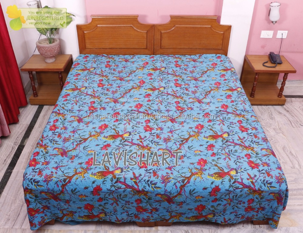 Floral Blue Hand Block Print Queen Kantha Quilt Bed Cover Cotton Blanket Throw