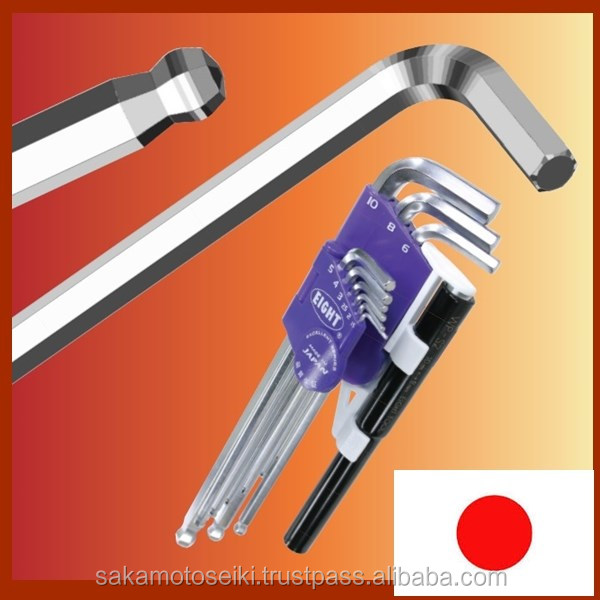 "Very safety and High quality mechanical hand tool ""EIGHT JAPAN"" Hex key wrench with highly-strengthened made in Japan"