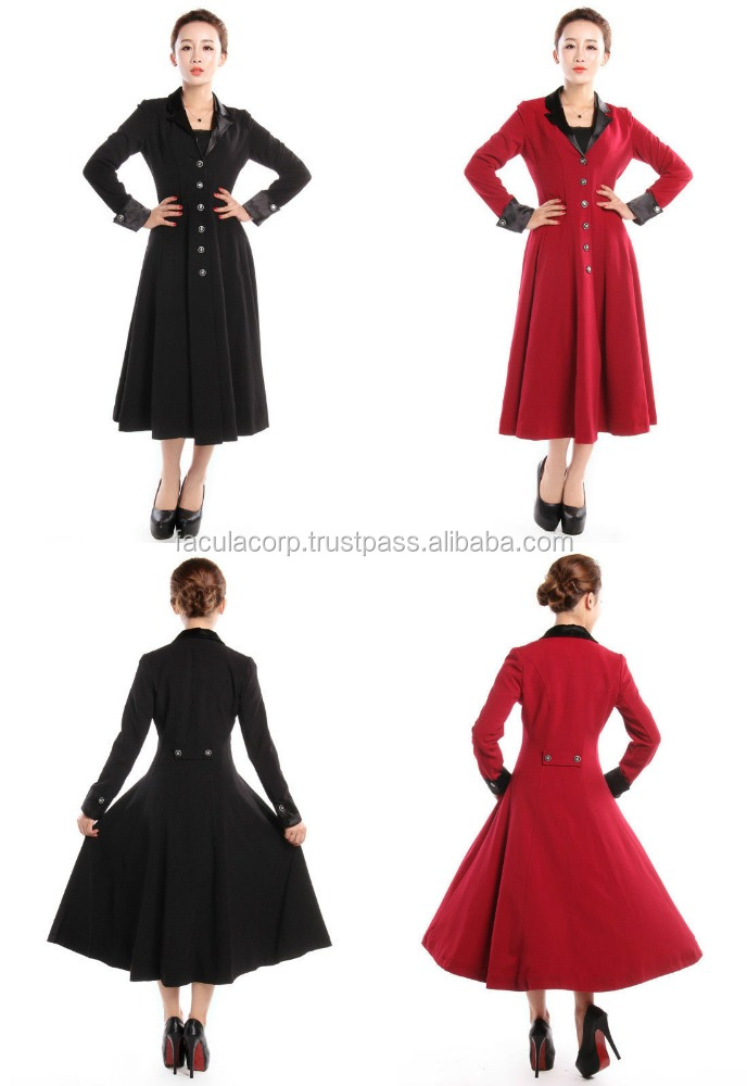 Gothic Victorian Vintage Gothic Long Fitted Frock Style Coat Black / Red