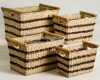 Set of 4 Rectangular Storage Bins with rattan handle accent