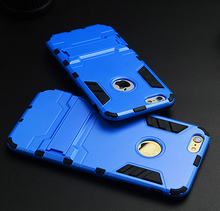 Fashion silicone 2 in 1 Kickstand Hybrid IronMan Shockproof Drop Proof Phone Hard Case for Apple iPhone 5 5S 6 6S 6 PLUS 6S PLUS
