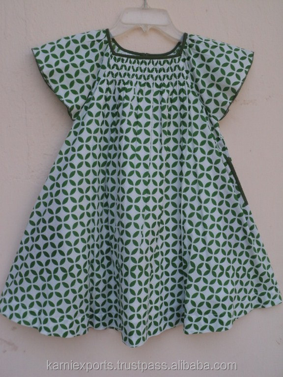 Light Green Color Geometrical Printed India Best Designer Design Pattern Kids Girls Wear Summer Dress Frocks