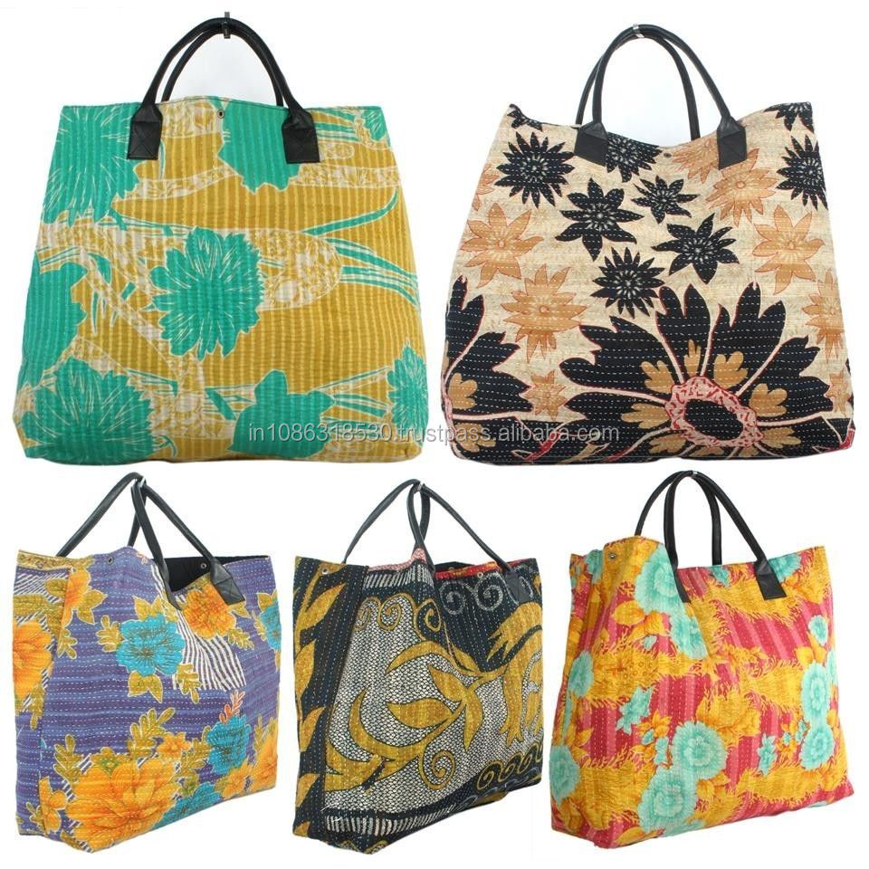 Indian handmade Kantha Dog Bags leather Tote purses Leather Handle Shopping purse Boho Gypsy purse old kantha vintage ethnic