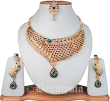 Gold Plated India Fashion Jewelry Kundan Nuggets Jewelry Necklace Set With Earrings