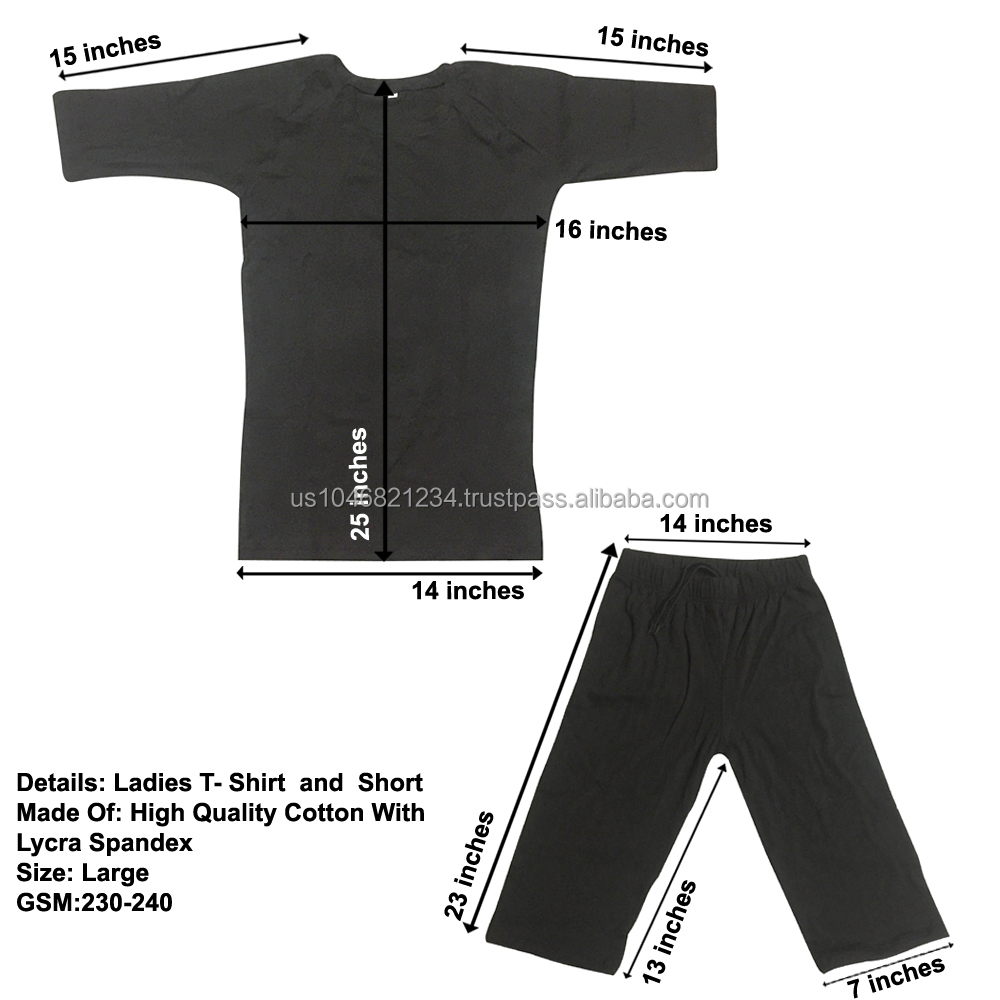 GYM Sport Wear T-Shirt and Short made of cotton Lycra Spandex black