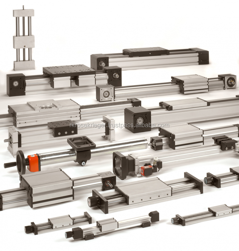 Linear units/linear guides with screw-, rack- or timing-belt drive in different construction types and performance classes.