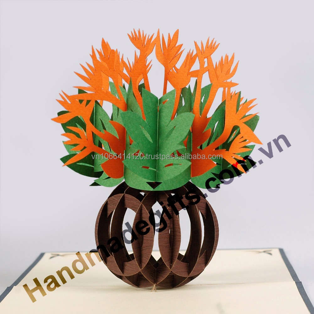 Handicraft Holiday 3D Pop UP Greeting Cards Flower Card