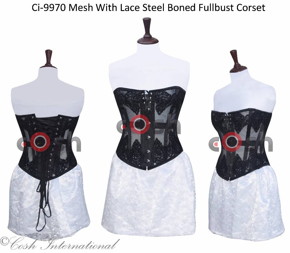 Mesh With Lace Steel Boned Waist Training Fullbust | Overbust Fashion Corset Shaper
