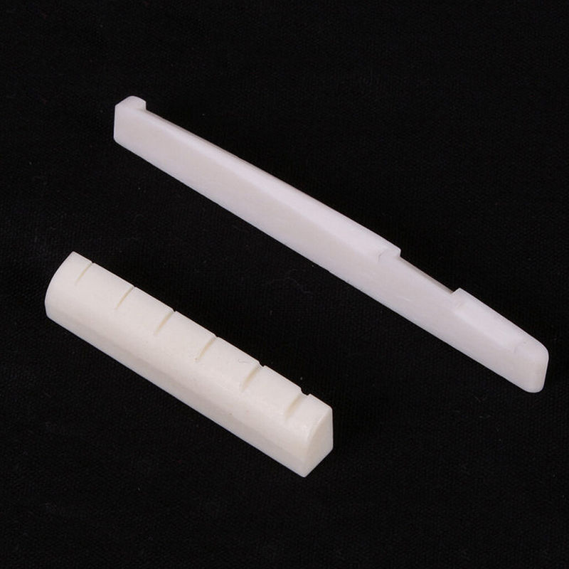 White Plastic Saddle and Nut for Acoustic Guitar
