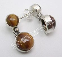 Hot Selling Popular Fashion 2 Stone Designer Jewelry ! 925 STERLING Silver TIGER'S EYE Studs Earrings 2.2CM