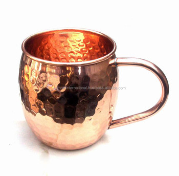 100% COPPER 16 OZ BPA FREE HANDMADE HAMMERED BARREL DRINKING MUG FOR MOSCOW MULE, ROUND COPPER MUG