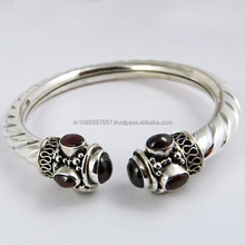 Enjoy The Little Things !! Garnet 925 Sterling Silver Bangle, Handmade Silver Jewelry, Silver Jewelry
