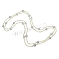 Freshwater Pearl Sweater Chain Necklace with South Sea Shell Potato natural purple 4mm 7-8mm Sold Per Approx 51.5 Inch Strand