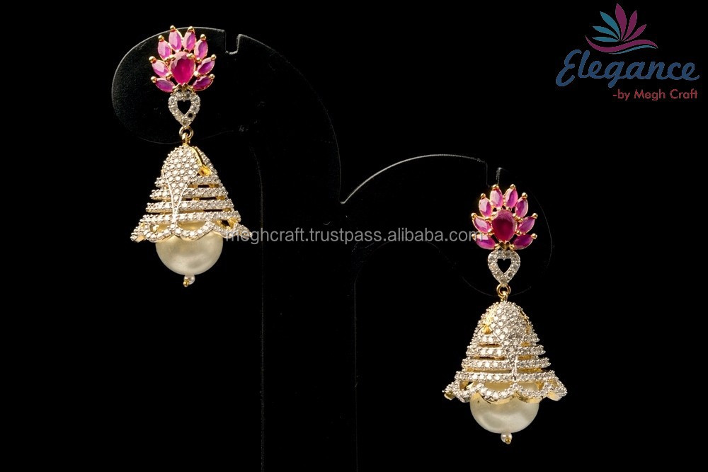 Indian traditional Small Jhumki earring - Party wear CZ earring - Daily wear AD earring