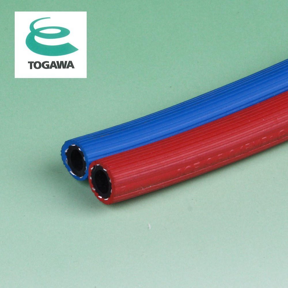 Flexible reinforced twin rubber welding hose. Manufactured by Togawa Rubber Co., Ltd. Made in Japan (gas cooker connection hose)