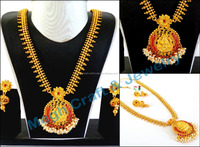 Wholesale long Bridal Jewellery-South indian temple Jewelry-One gram gold plated Rani haar set-long rani haram Jewellery