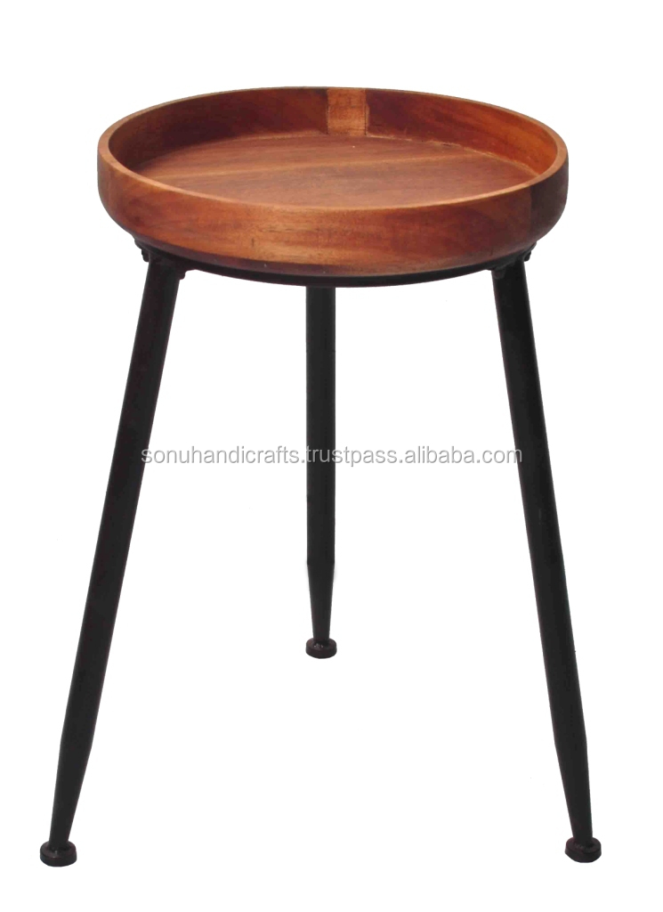 INDUSTRIAL IRON WOODEN SIDE TABLE