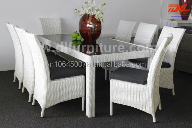 "Patio Furniture Poly Rattan Outdoor ""Haftmoon"" White Table and Chairs"