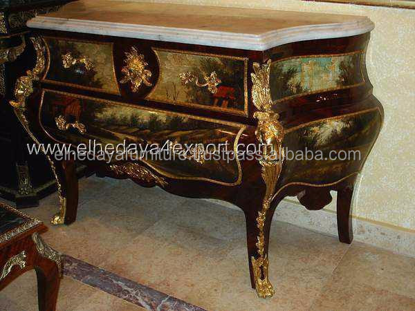 French style painted commode with ormolu - antique bombe commode