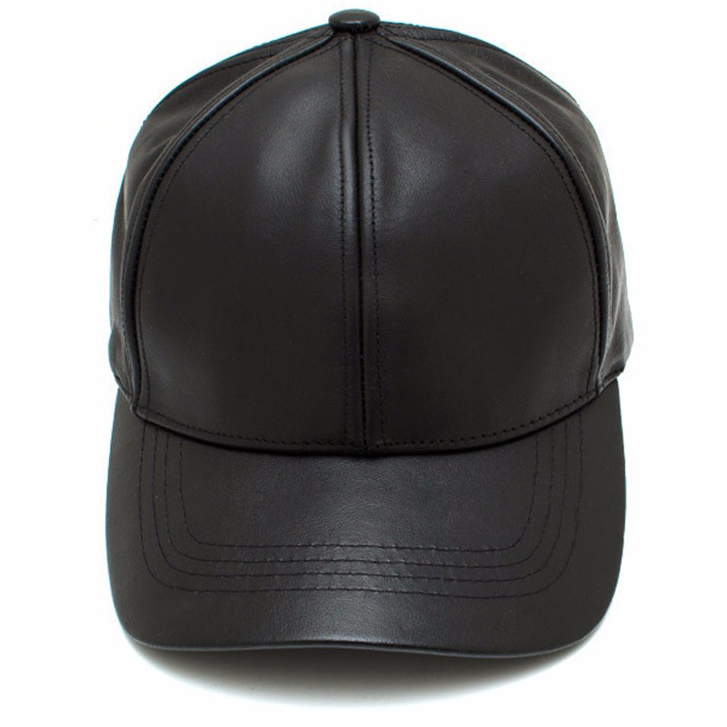 custom your own black 6 panel faux leather baseball cap