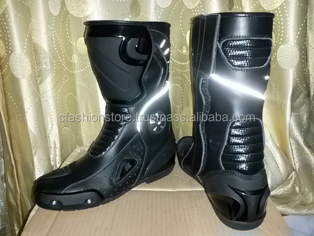 Women Gen Metal silver Leather motorbike racing Shoes/Boots
