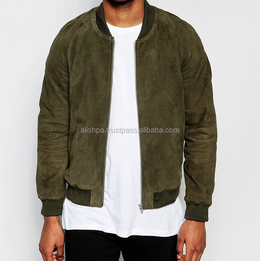 Branded Leather Suede Bomber Jacket In Khaki