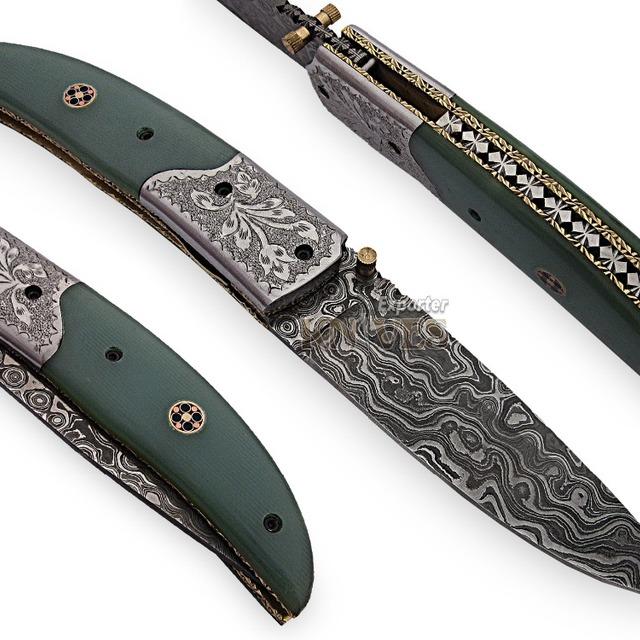 Knives Exporter Custom Handmade Damascus Steel Folding Knife