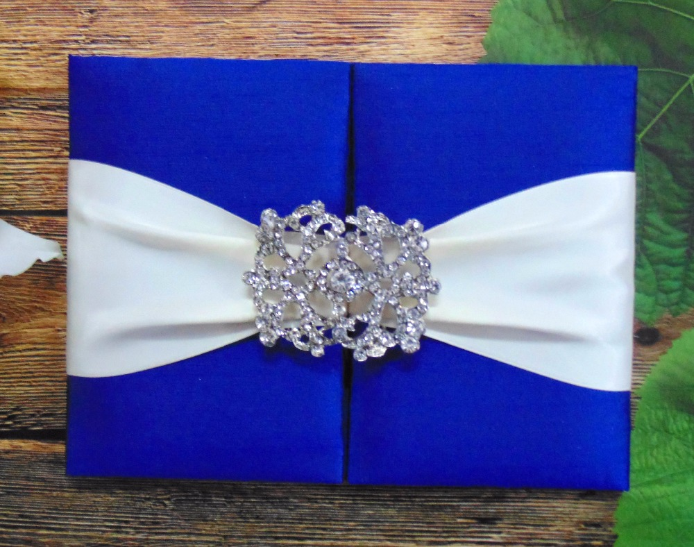 Gate Fold Style Royal Blue Silk Wedding Invitation Folio With Ivory Ribbon And Brooch Buckle