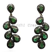 Zambian Emerald Pave Diamond 925 Sterling Silver jewelry/jewellery, Emerald Silver Earring, Handmade Jewellery Jewelry
