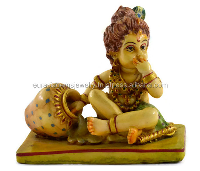 Exclusive new Handmade Resin idol of Baby Krishna Hand painted size 3 inch Home Decor Item
