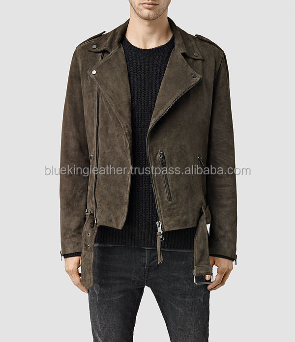 SAND SUEDE LEATHER MENS BLACK FASHION MOTORBIKE/MOTORCYCLE JACKET