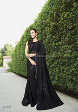 Goodness Black Fancy Net Designer Saree/party wear dresses online shopping
