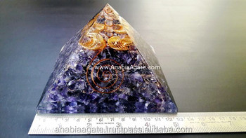 Amethyst Orgone Big Size Pyramid With Four Golden Cage : Orgointe Pyramid