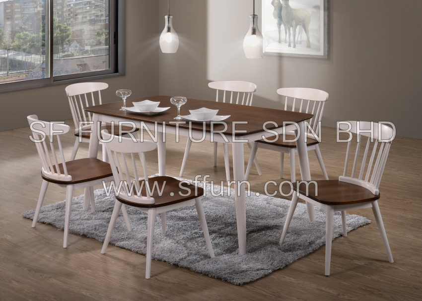 solid wooden dining set, dining room set, solid wood dining set, dining table, dining chair, malaysia furniture, muar furniture,
