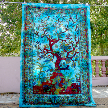 Bohemian Tapestry Natutal Cotton Throw Birds Hippie Bedding Bedspread Wall Hanging Curtain Christmas Decor Tree Of Life Tapestry
