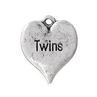 "Charm Pendants Heart Antique Silver Message ""Twins"" Carved 21mm x 18mm( 7/8"" x 6/8""), 50 PCs"