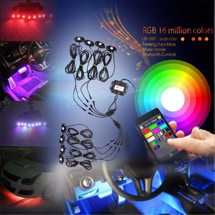 Off Road Side Marker RGB LED Rock Lights With Bluetooth Controller Timing Function Music Mode - 8 Pods LED Light Kit