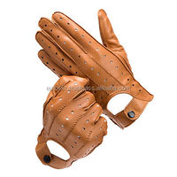 Brown color men finger leather car driving gloves