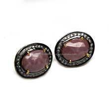 Amazing Crafted Pink Sapphire_White Topaz 925 Sterling Silver Studs Earring, Fashion Silver Jewelry, Silver Jewelry