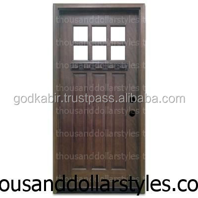 King 36 in. x 80 in. Craftsman 6 Lite Stained Mahogany Wood Prehung Front Door/Home decor cheap rate home front wooden doors.