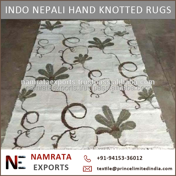 Handmade Indo Nepali Hand Knotted Art Silk Rugs at Cheap Price