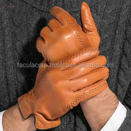 Goatskin Touch Screen Men's Genuine Leather Gloves Winter Warm Driving Mittens
