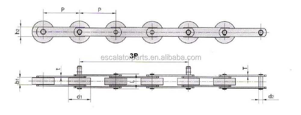 Escalator Step Chain Pitch 133.33 For BLT 9300 SDS / SWE escalator spare parts
