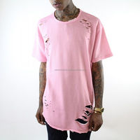New Mens latest design Extended Distressed Rip Short Sleeve T Shirt/classic ribbed style t shirt/New West brand hole ripped tee