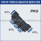 Pneumatic Triple Union Branch PVC Pipe Fittings Reducer