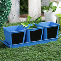 Garden Chalk Board Herb Planter With Base Blue 4 Pcs