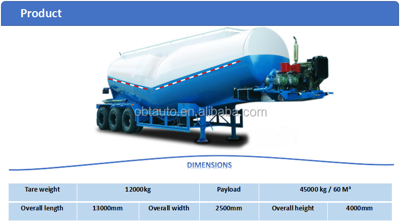 OEM tri axle 40m3 bulk Cement Tank Semi trailer for sale