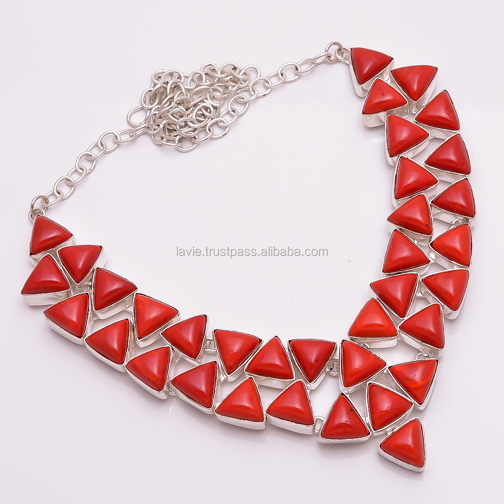 925 Silver Necklace, Natural Red Coral Gemstone Jewelry, Wholesale Jewelry