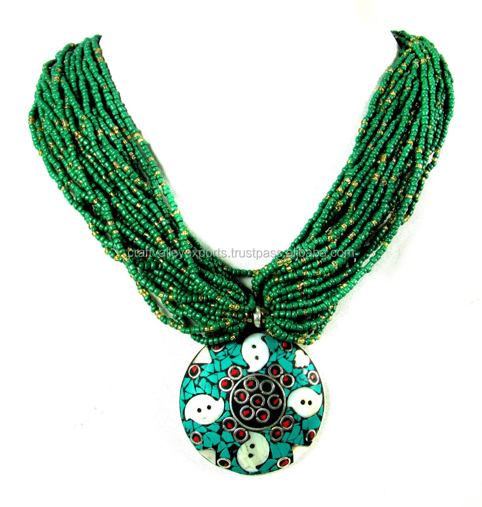 Crafty12 Hot New Elegant Stone chips Brass Pendant Seed Beads Multilayer Necklace